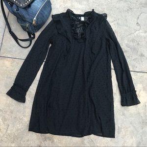 H&M dress black sheer sleeves